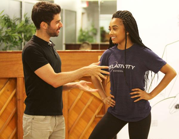 Actor and singer Adam Kantor coaches Rogers during a Jimmy Awards rehearsal.