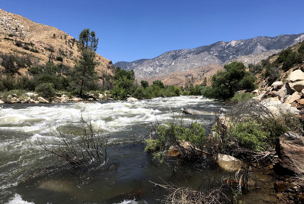 The Kern River's water is 10-times stronger than it was a year ago, after near-record snowmelt from California's wet winter flows down from Mount Whitney in the Sierra Nevada.