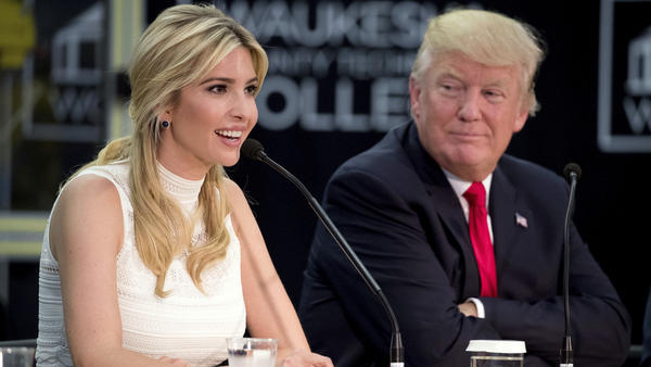 President Trump listens as his daughter, Ivanka Trump, speaks at a workforce development roundtable at Waukesha County Technical College in Pewaukee, Wisc., on June 13, 2017.