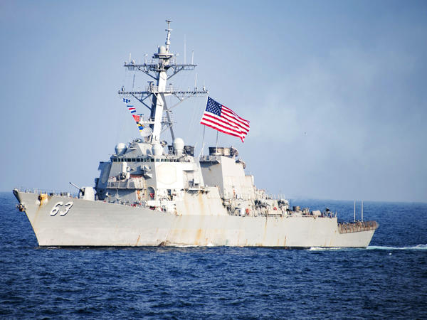 The USS Stethem sails in waters east of the Korean Peninsula in March.
