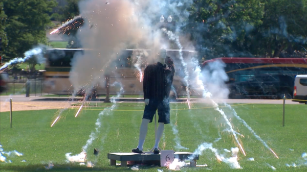 A mannequin suffers the consequence of very poor fireworks-igniting decisions.