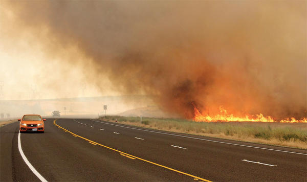 The Silver Dollar fire is burning 20,000 acres near the Hanford nuclear site in southeast Washington state.