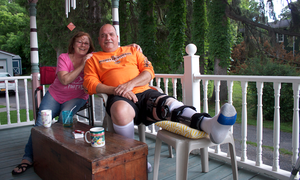 Barb and Louis Emerson at their home in Gorham, NY. (Bret Jaspers/WSKG News)