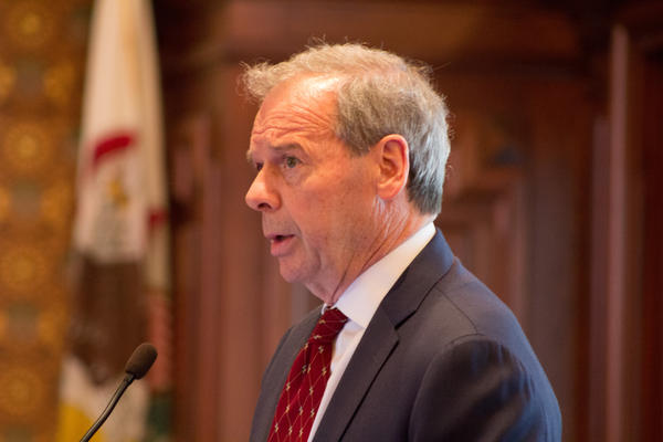 Senate President John Cullerton addresses his colleagues after the Senate voted to pass a budget and override the governor's veto in the span of a few hours.
