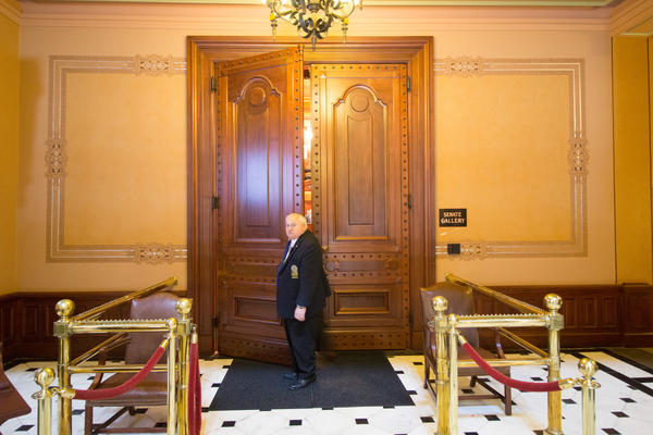 The main doors to the Senate during the brief debate over whether to override Gov. Bruce Rauner's budget veto.