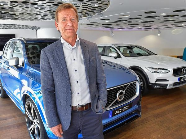 Volvo CEO Hakan Samuelsson announced that all Volvo cars will be electric or hybrid within two years. Above, Samuelsson at Volvo Cars Showroom in Stockholm on Wednesday.
