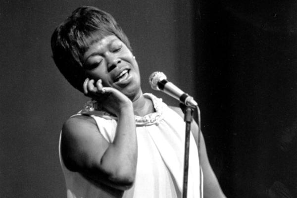 Vocalist Sarah Vaughan sings at the Newport Jazz Festival's closing night on July 3, 1967 in Newport, R.I.  (AP Photo)