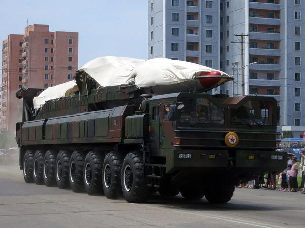 A North Korean ballistic missile on Victory Day, 2013.