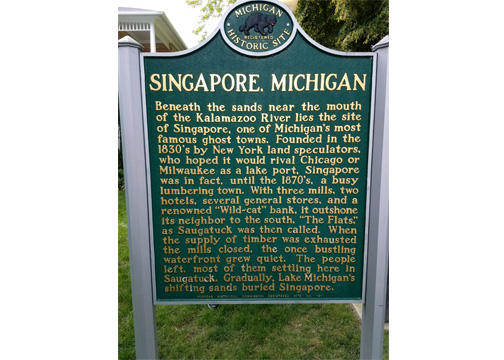 This historical marker is all that is left to comemorate Singapore, Michigan.