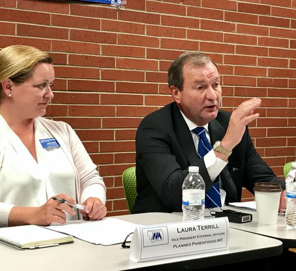 Laura Terrill, with Planned Parenthood of Montana, and John Goodnow, CEO of Benefis Health Systems were among the panelists critical of Senate health care bill in Helena Thursday July, 6.