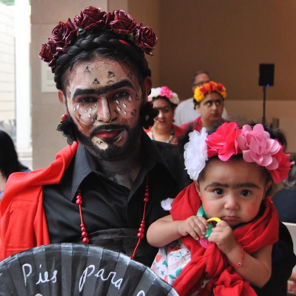 Marco Saucedo and his niece Anna Mata were among the hundreds of Frida fans participating in a Guinness World Records attempt for the most people dressed as the Mexican artist.