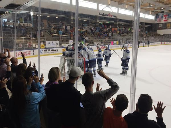 Players and spectators celebrate at the final buzzer. The 11 Day Power Play successfully raised at least one million dollars for cancer research while setting a new Guinness World Record for longest hockey game played.