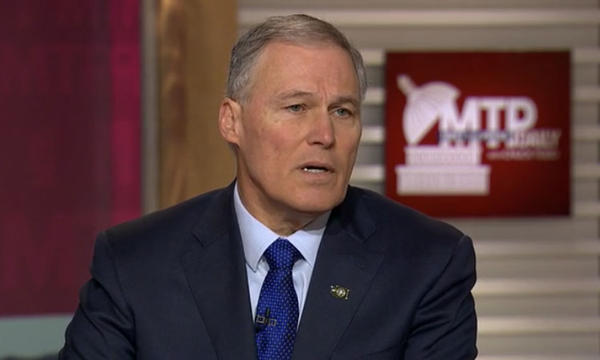 Washington Gov. Jay Inslee will be chair of the Democratic Governors Association in 2018 when 36 gubernatorial contests will be waged. He is shown appearing on Meet the Press on February 24, 2017.