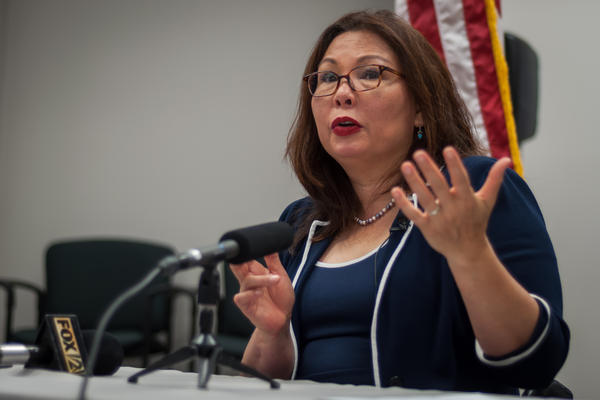 U.S. Sen. Tammy Duckworth, D-Illinois, speaks to reporters Monday about health care legislation following a tour of Chestnut Health Systems in Granite City.