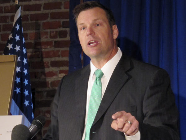 Kansas Secretary of State Kris Kobach speaking to supporters last month upon launching his campaign for the Republican nomination for governor. He also vice-chairs the president's election integrity commission.