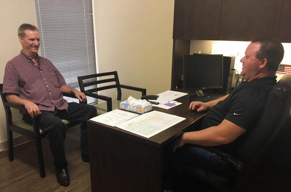 "David Woodside visits David Yarborough's office several times a week to get helpful coaching on how to manage the symptoms of his bipolar and schizoaffective disorder. ""Dave's been through a lot of the things I've been through — and vice versa,"" Woodside says."