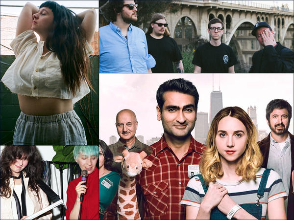 Clockwise from upper left: Waxahatchee, Protomartyr, billboard photo for the film <em>The Big Sick, </em>The Blow