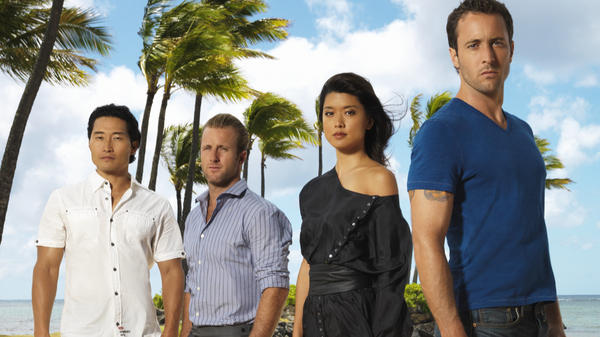 Actors Daniel Dae Kim (far left) and Grace Park (second from right) appeared alongside Alex O'Loughlin (far right) and Scott Caan in CBS's <em>Hawaii Five-0.</em>