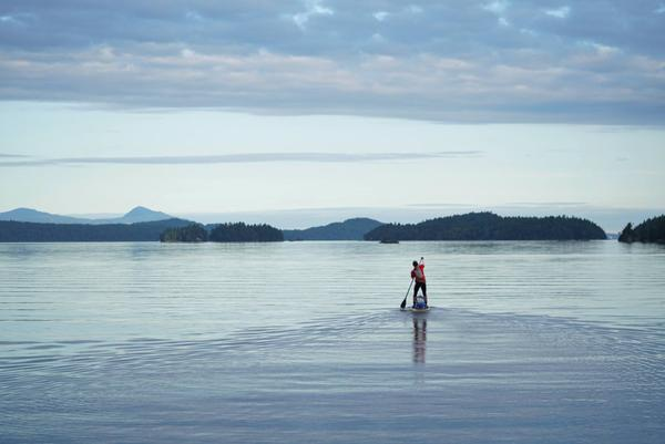 Karl Kruger (aka Team Heart of Gold) paddles north through the Canadian Gulf Islands on June 12.