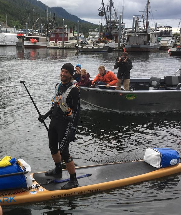 Karl Kruger arrived at Thomas Basin Boat Harbor in Ketchikan Sunday evening, becoming the first SUP finisher of the Race to Alaska.