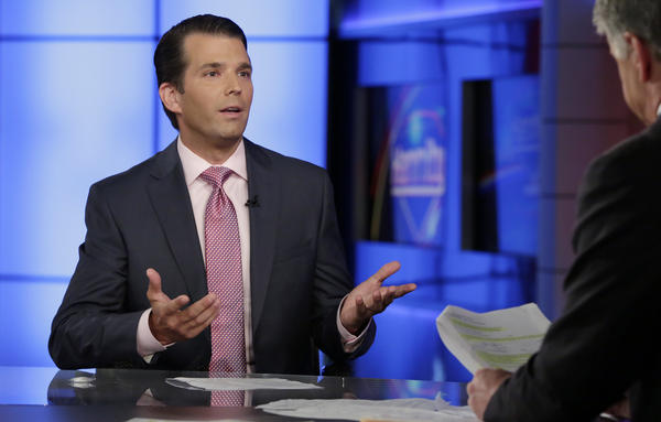 Donald Trump Jr. appears on Sean Hannity's Fox News program on Tuesday to discuss his meeting with a Russian lawyer in 2016 after promises of getting damaging information about Hillary Clinton.