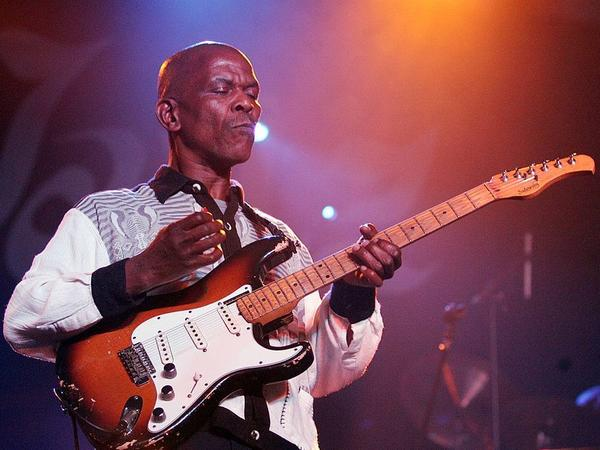 Guitarist Ray Phiri on stage with his band Stimela in Johannesburg, South Africa, in 2007.