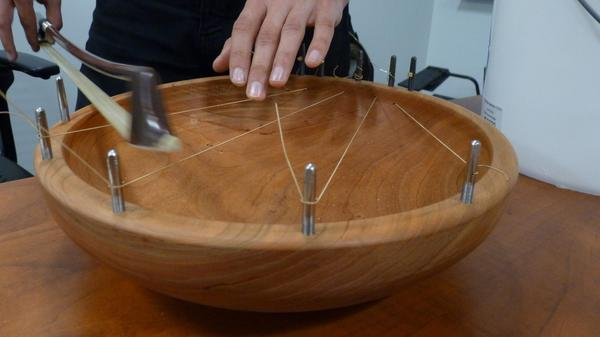 One of the musical instruments created during Molly Herron's class at Dartmouth. (Todd Bookman/NHPR)