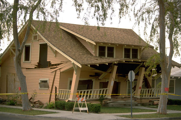File photo of a house damaged in the Northridge Earthquake on January 17, 1994. Damage from this quake led directly to the creation of the California Earthquake Authority.