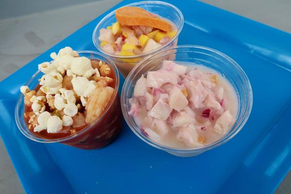 A variety of ceviche from the Pupusa Lady, a stand at the New Orleans food court Roux Carre.