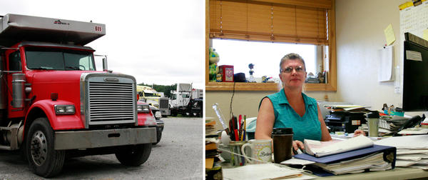 (Left) For Barron Trucking, the opening of the mine has increased business. (Right) Jen Barron, who works at Barron Trucking, says they have brought on more mechanics since the mine opened but that it is still hard to find workers.