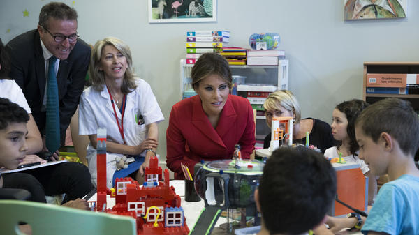 U.S. first lady Melania Trump visits the Necker hospital on Thursday.