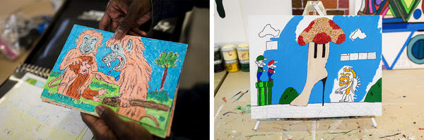 "Nonja Tiller holds one of her comics (left) illustrating two characters bullying another for being different. ""I'm trying to let people know who we are,"" she says. ""We're humans; we're like anybody else."" This Super Mario Brothers-inspired boot was painted by Shawn Payne, whose work is influenced by fashion designers like Christian Louboutin. He hopes his work will include wearables one day."
