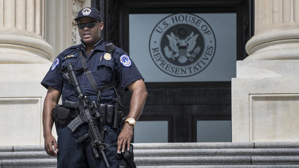 A Capitol Hill Police officer stands his post at the entrance to the House of Representatives in Washington on June 14, 2017, after House Majority Whip Steve Scalise of La., and others, were injured in a shooting during a congressional baseball practice in Alexandria, Va.