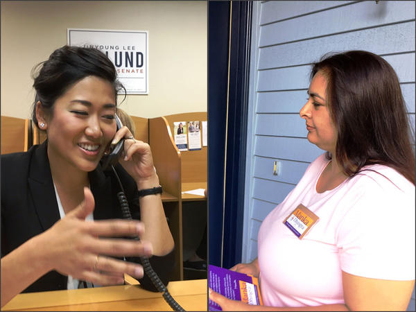 Republican Jinyoung Englund, left, and Democrat Manka Dhingra are vying for the state Senate seat in Washington's 45th legislative district.