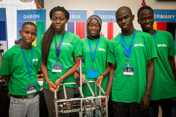 Team Gambia at the First Global Challenge 2017, an international robotics event. Left to right: Sellou Jallow, Fatoumata Ceesay, Khadijatou Gassama, Ebrima Marong and Alieu Bah.