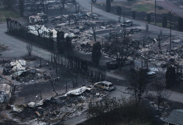 The Boston Flats trailer park was destroyed by a wildfire in Boston Flats, British Columbia, Canada on Monday.