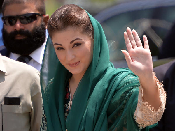 The daughter of Pakistani Prime Minister Nawaz Sharif, Maryam Nawaz Sharif, arrives before appearing in front of an anti-corruption commission in Islamabad on July 5.