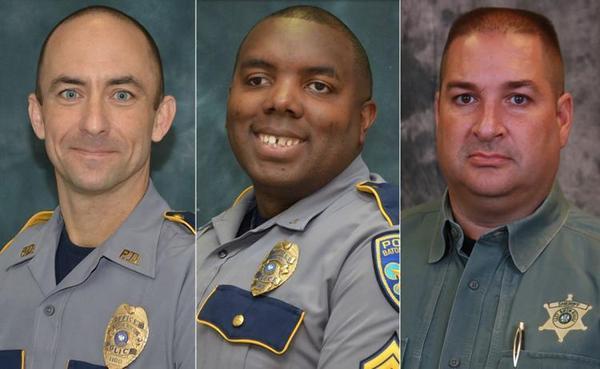L to R: Ofcr. Matthew Gerald, Cpl. Montrell Jackson, Deputy Brad Garafola