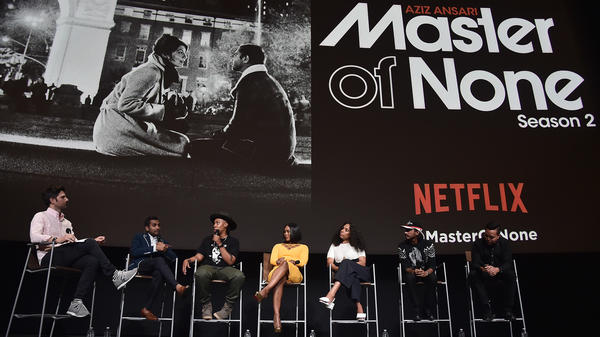 Actors join other creators of Netflix's <em>Master of None</em> in a panel discussion in June. The series is nominated for a best comedy Emmy.