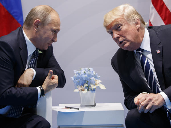 President Trump with Russian President Vladimir Putin at the G-20 Summit in Hamburg, Germany, during a formal meeting on July 7. The White House on Tuesday acknowledged that a second, previously undisclosed meeting between the leaders also took place.