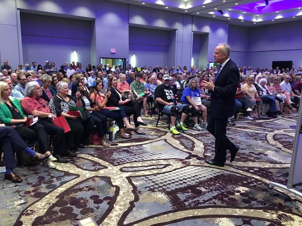 Members of Indivisible KC were present at U.S. Sen. Jerry Moran's town hall in June which focused on health care.