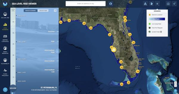 "An image from NOAA's Sea Level Rise Viewer simulating how levels could potentially rise in St. Petersburg under an ""Intermediate-High"" scenario. You can find a link to this interactive map in the body of this story."