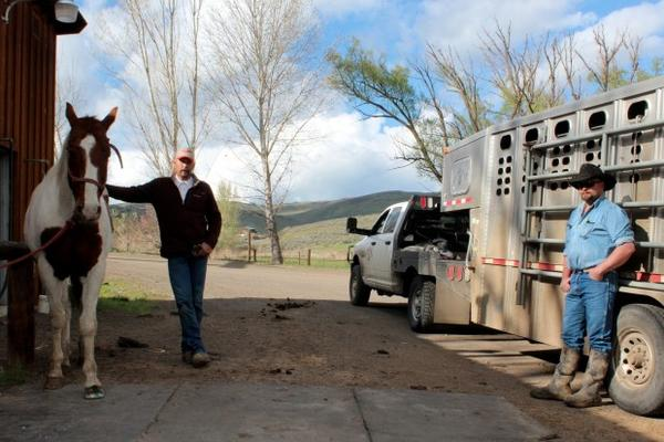 <p>Dean Tucker, cow boss at the Pine Valley Ranch,left, and rancher Chad DelCurto talk wolves at Tucker's place in Richland, Oregon.</p>