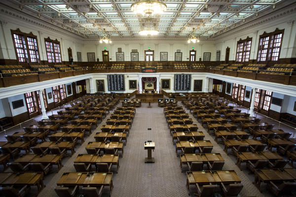 An empty Texas House of Representatives in Feb. 2017.