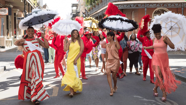Sisterhood on parade (L to R): Sasha (Queen Latifah), Ryan (Regina Hall), Lisa (Jada Pinkett Smith) and Dina (Tiffany Haddish) step out in <em>Girls Night</em>.