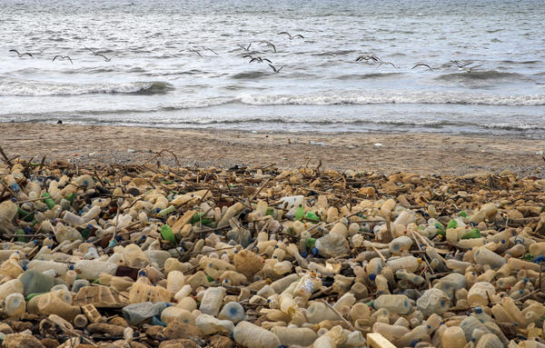 Piles of plastic waste are pictured on the seaside in the coastal town of Khalde, south of the Lebanese capital Beirut, on September 22, 2016.