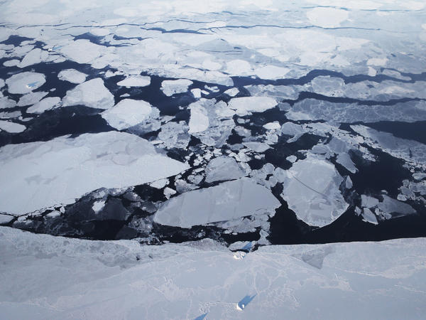 Arctic sea ice is seen from a NASA research aircraft on March 30, 2017, above Greenland. A top Interior Department scientist who tracks Arctic conditions says he was demoted by the Trump administration for speaking out on climate change.