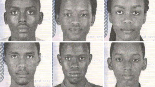 The missing teens are Aristide Irambona, 18 (clockwise from top left), Nice Munezero, 17, Audrey Mwamikazi, 17, Don Ingabire, 16, Richard Irakoze, 18, and Kevin Sabumukiza, 17.
