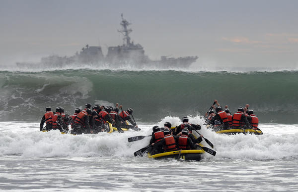 Basic Underwater Demolition/SEAL students in training in 2014. The Navy now has two female candidates to join the elite special operations forces for the first time since front-line combat jobs were opened to women.