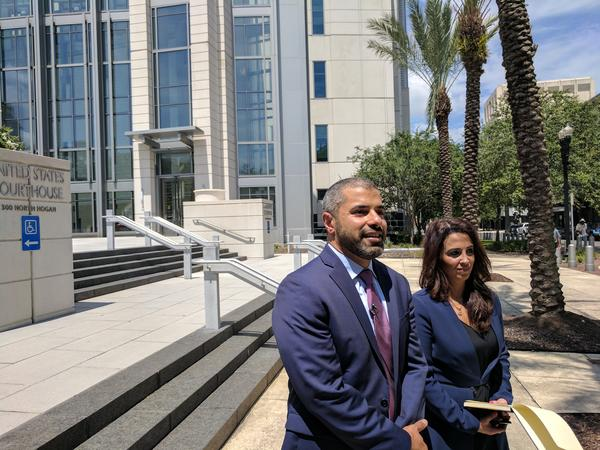 CAIR Florida lawyer Omar Saleh and CAIR National Legal Fund lawyer Lena Marsi speak outside the federal courthouse in Jacksonville Thursday.